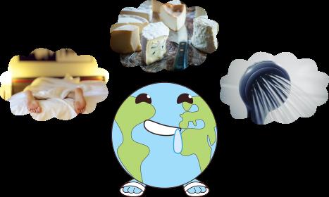 logo planète fantasmant sur du fromage, un lit confortable et une douche chaude