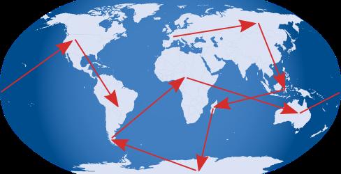 carte du monde avec flèches d'itinéraire partant dans tous les sens