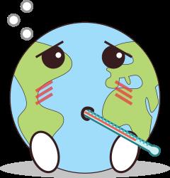 logo planète malade avec un thermomètre dans la bouche