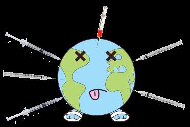 Logo planète piquée avec plein de seringues de vaccins