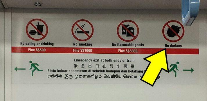 Liste des choses interdites dans le métro de Singapour