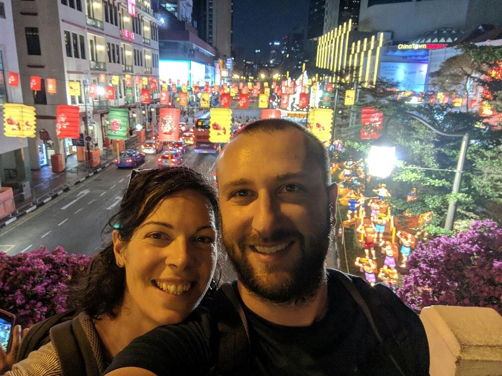 Salomé et Sylvain à Chinatown de Singapour