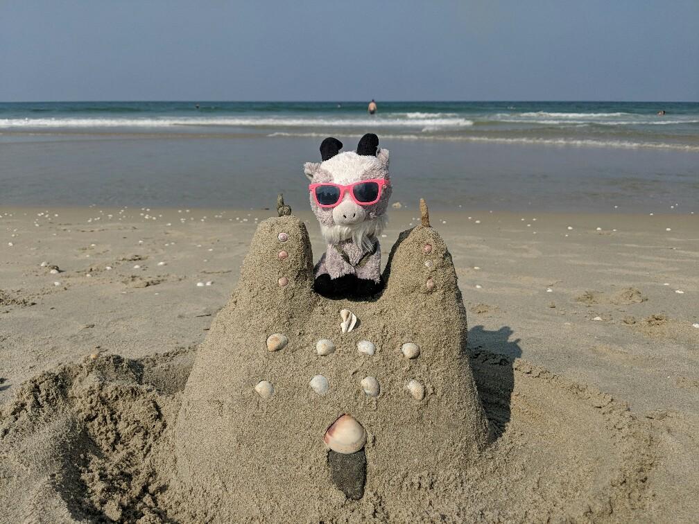 Peluche sur un chateau de sable