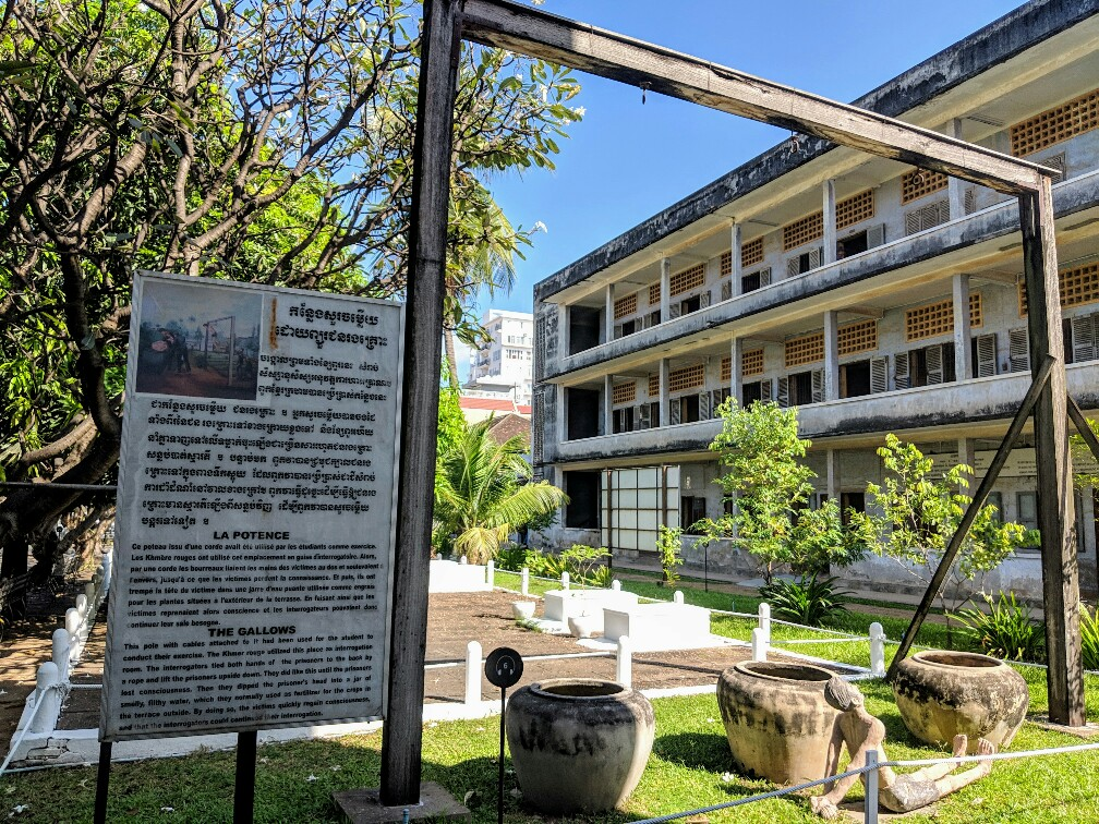 Potence improvisée dans la prison S21 à Phnom Penh, Cambodge