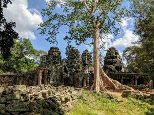Entrée et arbre devant le temple Banteay Kdei, Cambodge