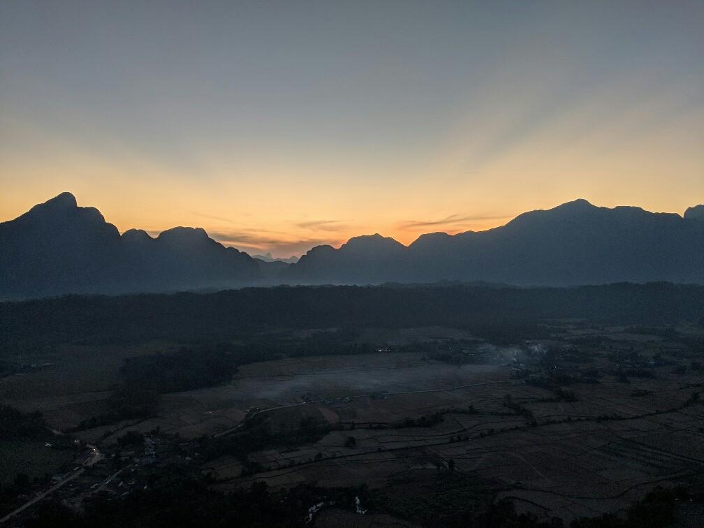 Coucher de soleil du haut de Pha Ngern, Laos