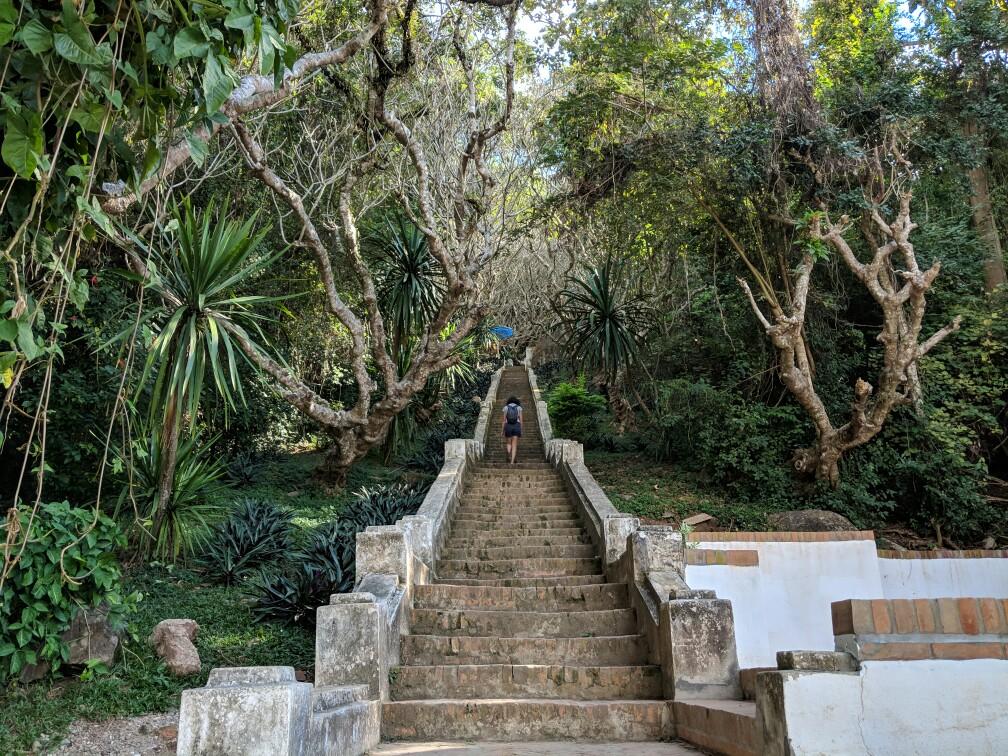 Vue sur Salomé grimpant les marches du Mont Phousi