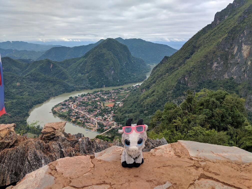 Panorama avec Biquette depuis le point de vue du Phadeng Peak, Laos