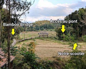 Vue depuis le temple avec accès vers le Bamboo Bridge de Pai, Thailande