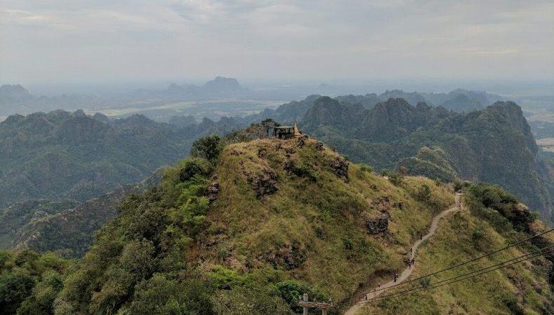 Point de vue du Mont Zwegabin près de Hpa-An, Birmanie