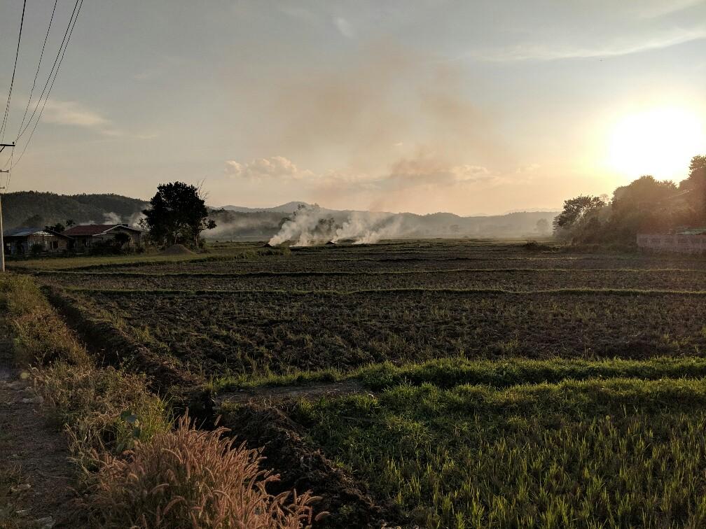 Champ au coucher de soleil près d'un village Shan vers Hsipaw en Birmanie