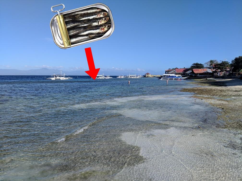 Boite à sardines qui pointe sur le bord de Panagsama beach