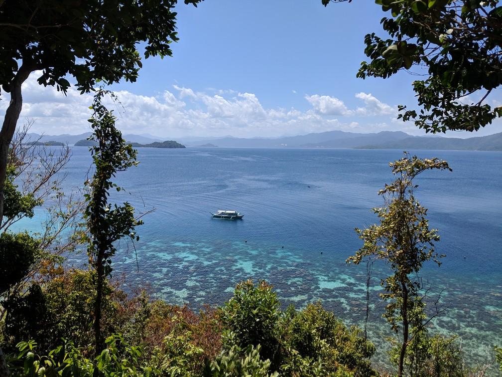 Au travers de la végétation on aperçoit la mer turquoise et les récifs coraliens