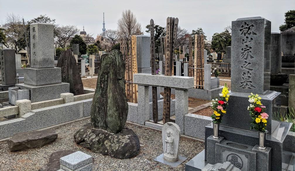 Tombes japonaises dans le cimetière entre Ueno et Yanaka