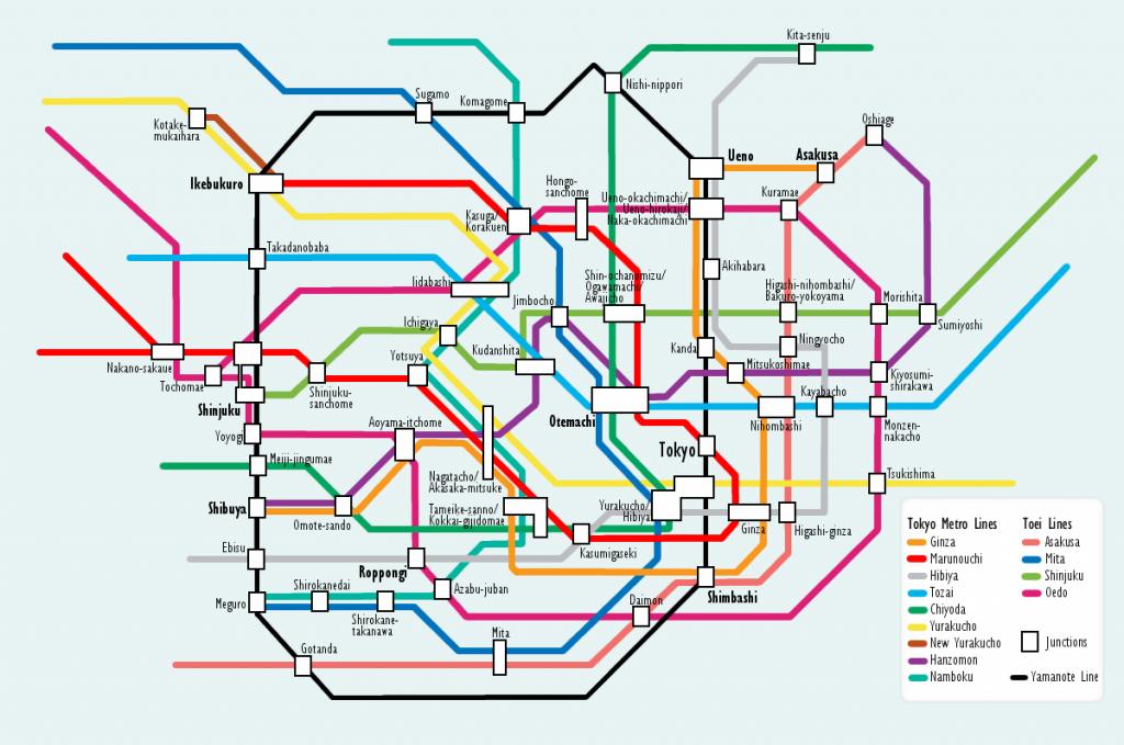 Plan avec les différentes lignes de métro de Tokyo
