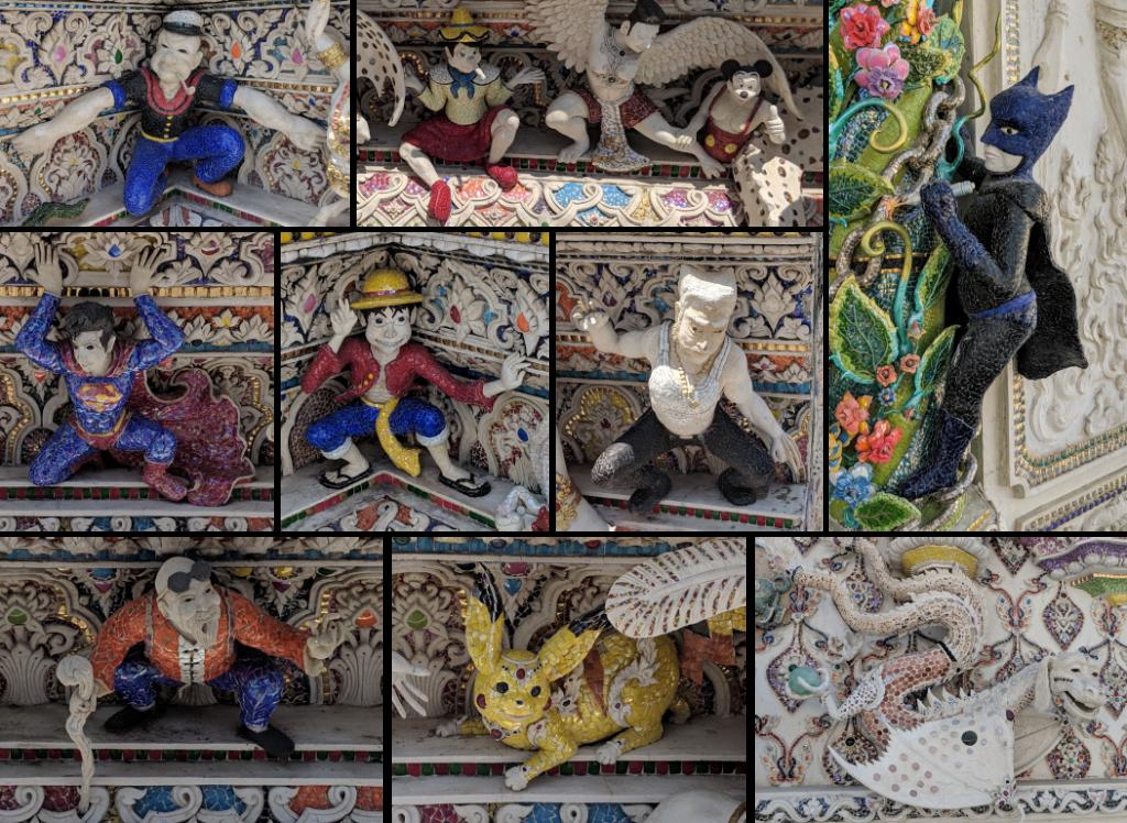 Mosaïque de petites sculptures rigolotes décorant le temple de Pariwat