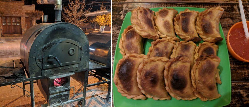 Images d'un four dans la rue et d'une assiette d'empanadas à El Hornito