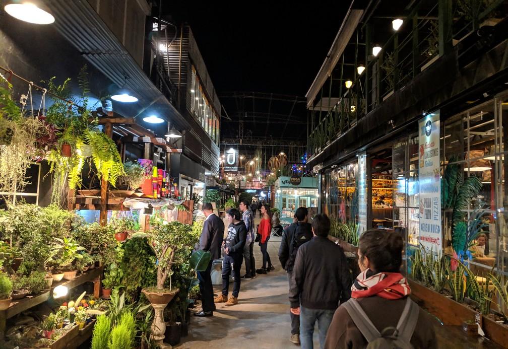 Galeries avec beaucoup de végétation dans le Barrio Güemes à Córdoba en Argentine