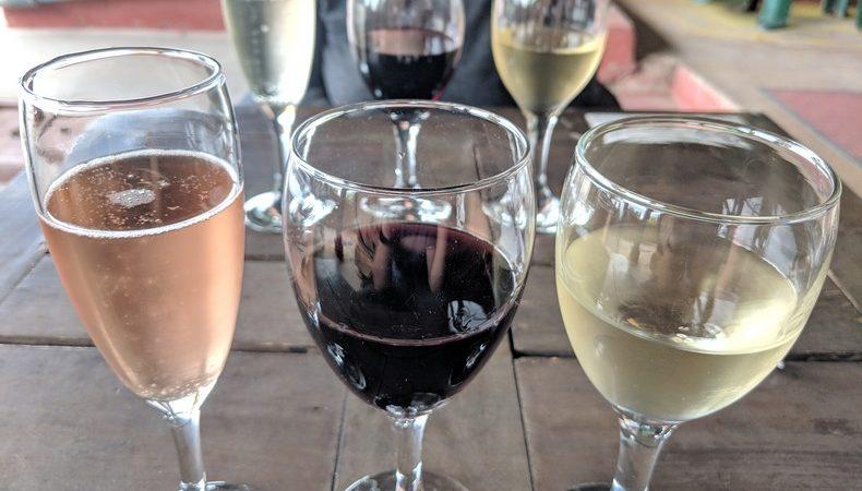 Gros plan sur trois verres de vin à la dégustation chez la bodega Viño El Cerno