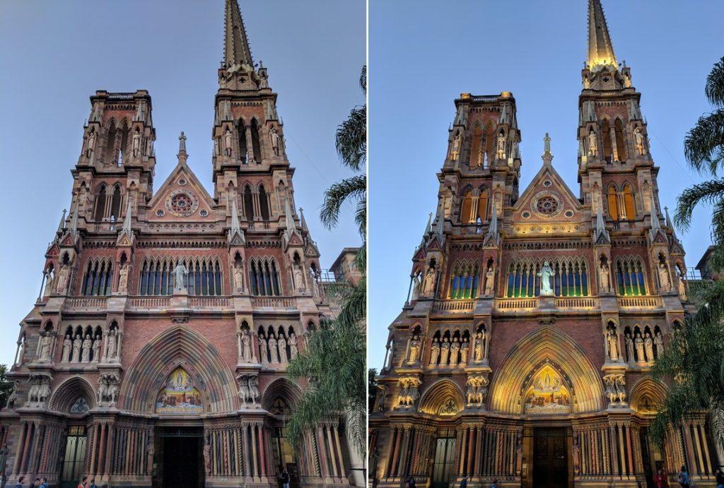 Eglise de los Capuchinos de jour et éclairée au crépuscule à Córdoba en Argentine
