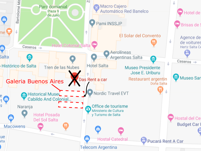 Emplacement exact sur une carte de l'agence de location de voiture Das Rent a Car à Salta