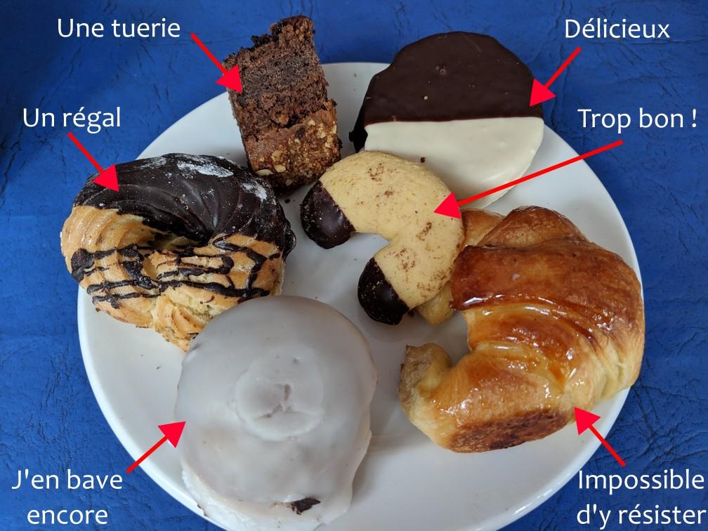 Assortiment de pâtisseries et viennoiseries Argentine sur une assiette