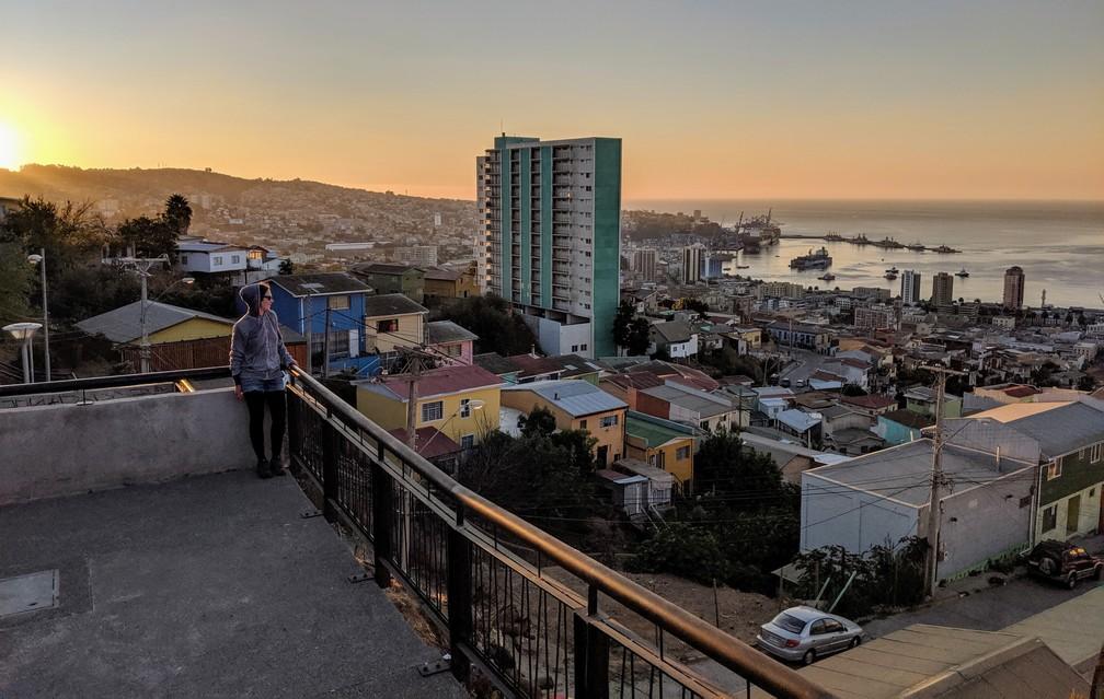 Coucher de soleil sur Valparaiso