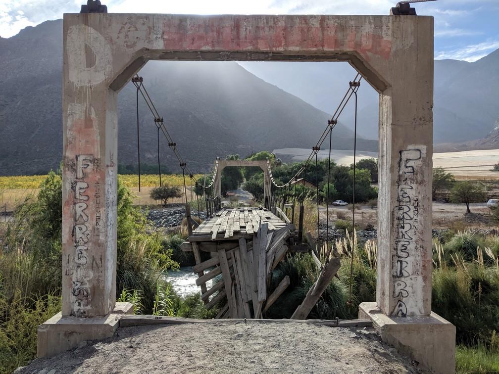 Un pont détruit dans la vallée d'Elqui