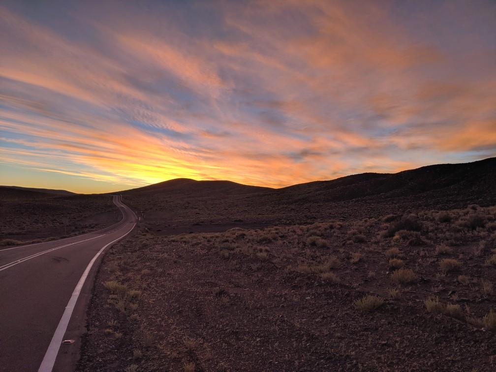 Coucher de soleil sur le retour de la vallée d'Arcoiris vers San Pedro de Atacama