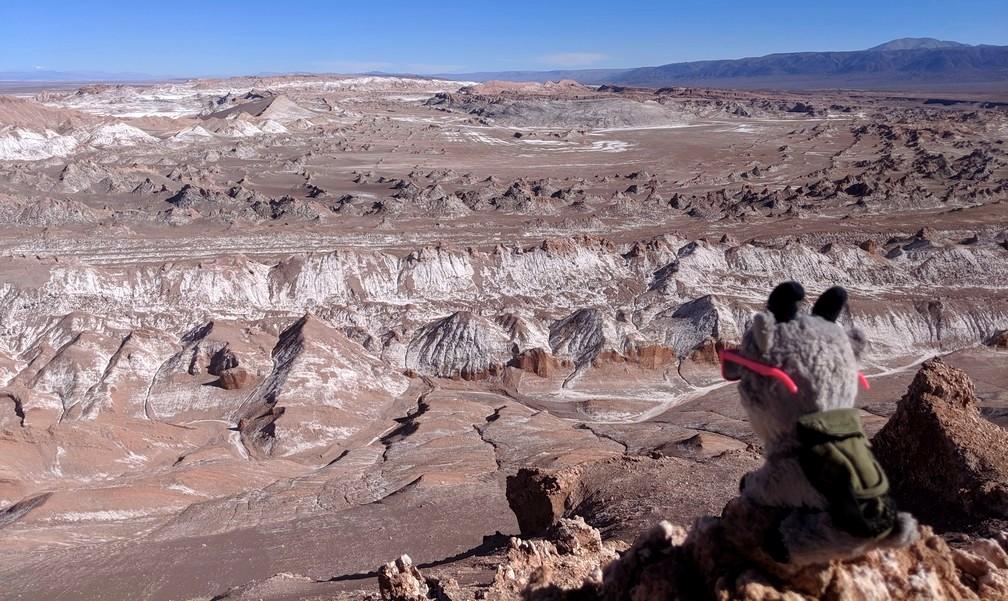La petite Biquette observe un grand cirque dans la vallée de la Lune