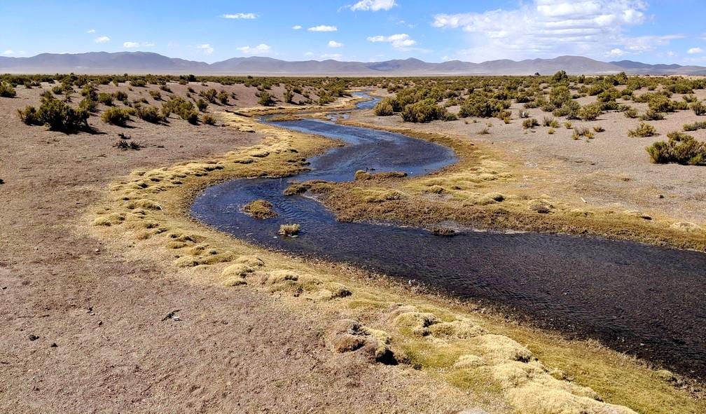 Rivière sinuante dans le désert entourant Julaca