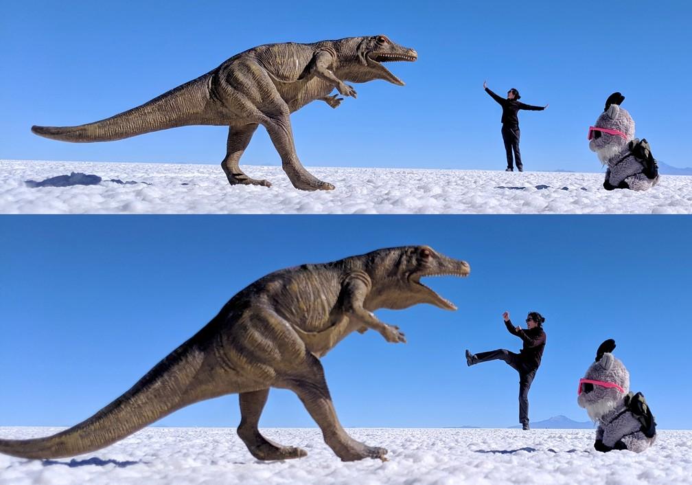 Salomé défend la petite Biquette du dinosaure dans le salar d'Uyuni