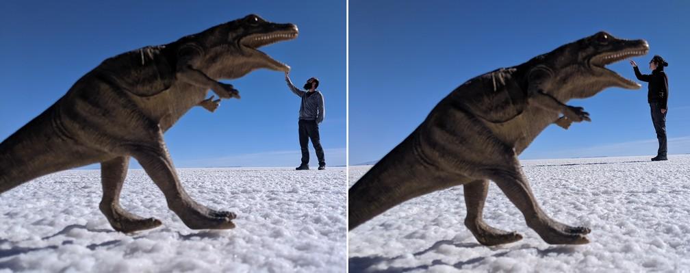 Sylvain et Salomé chatouillent le dinosaure dans le salar d'Uyuni