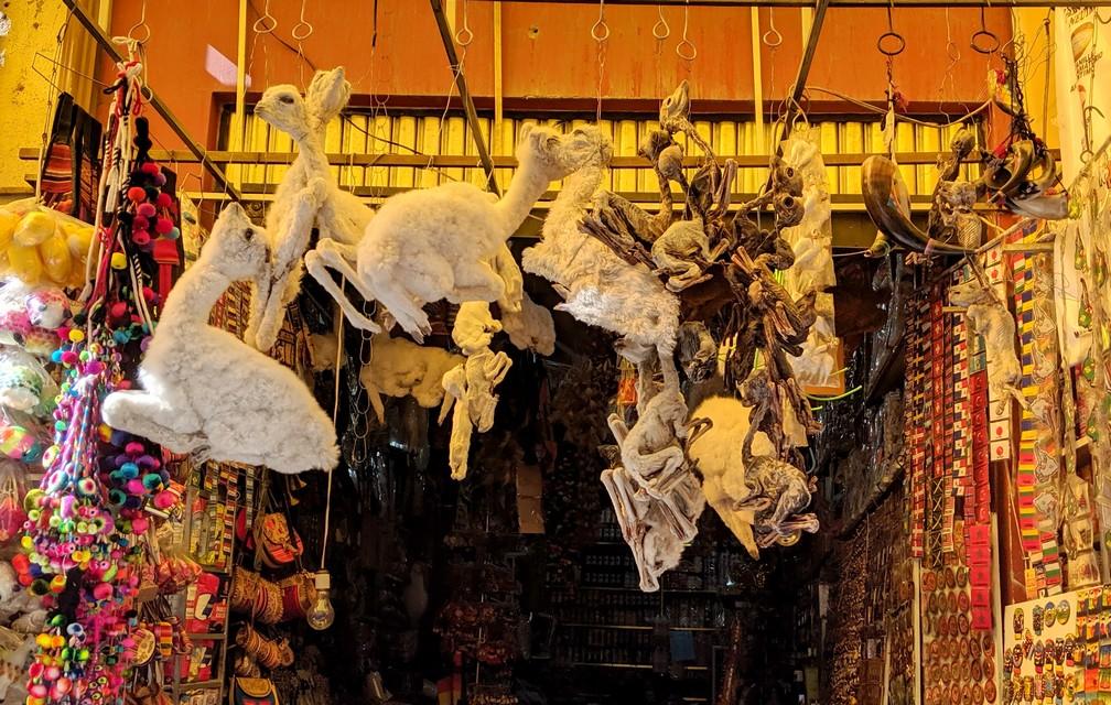 Foetus de lama suspendus en vente au marché des sorcières de La Paz