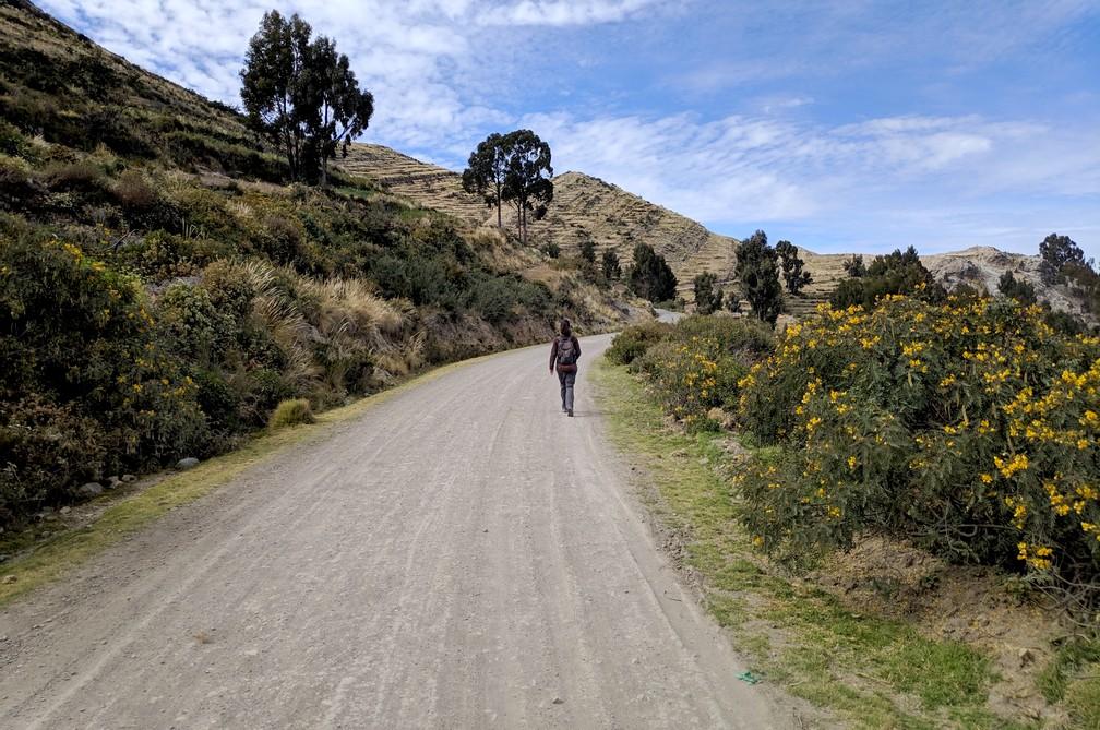 Chemin dans la montagne de Yampupata à Copacabana en Bolivie
