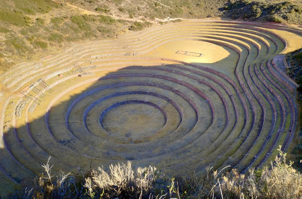 Ruines incas en terrasses concentriques de Moray dans la vallée sacrée de Cusco