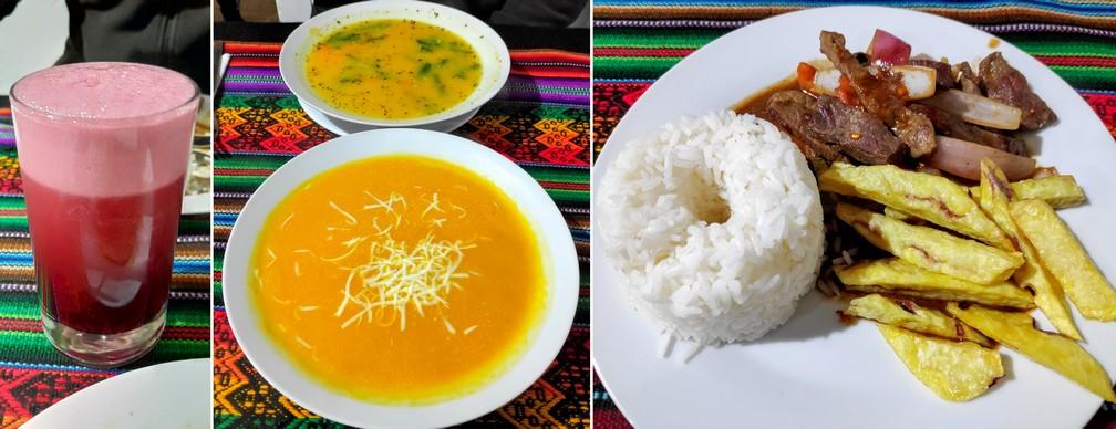 Menu touristique de Ima Sumac à Ollantaytambo: chicha morada, soupe et lomo saltado