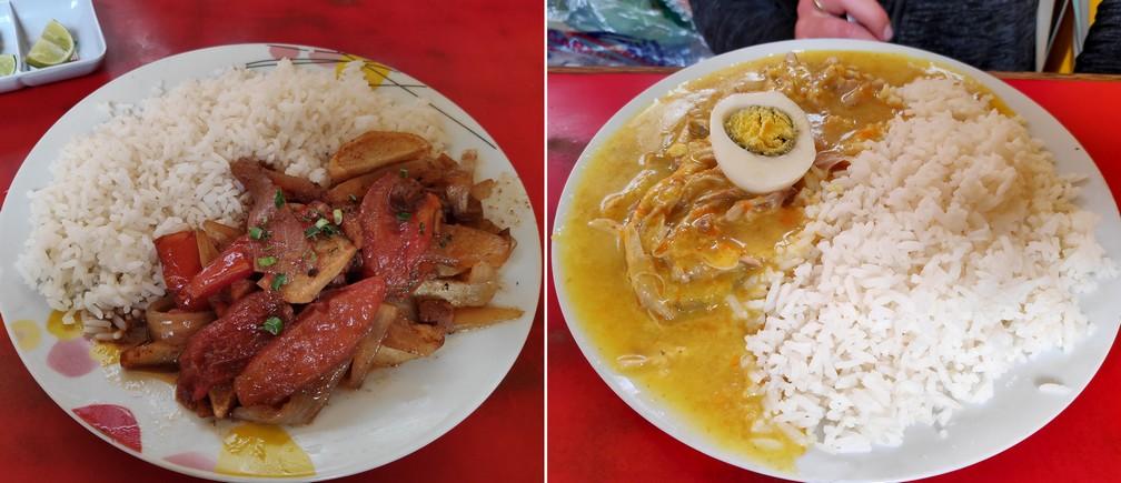 Lomo Saltado et Aji de Gallina au marché d'Huaraz