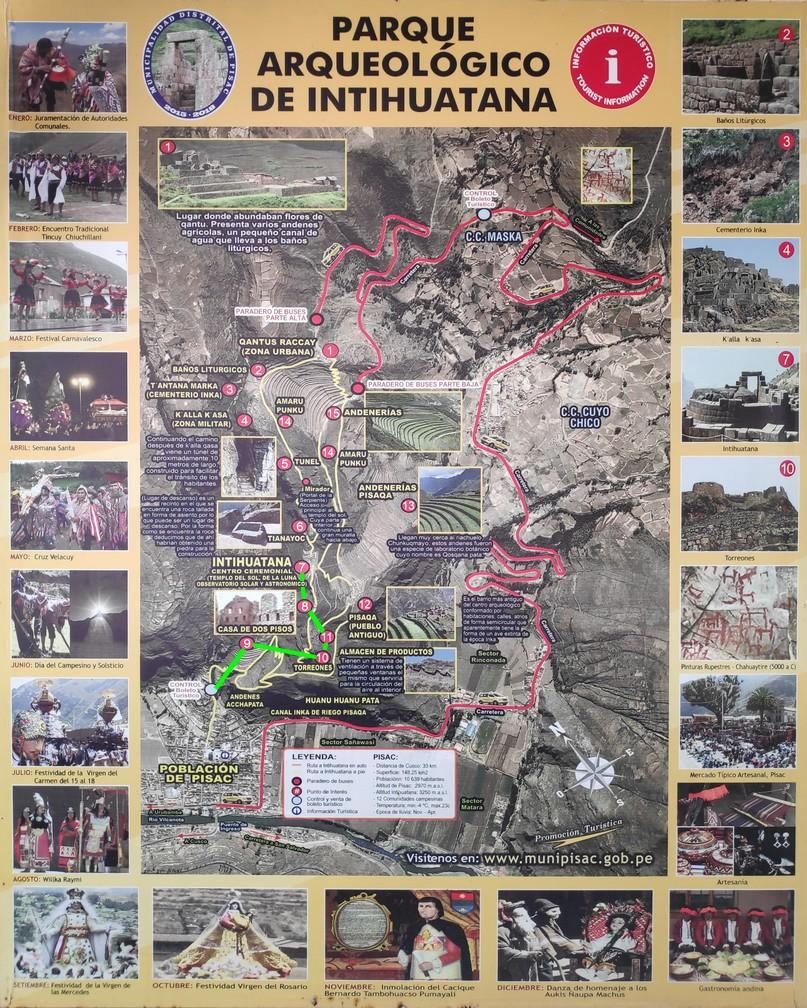 Plan du parc archéologique de Intihuatana à Pisac