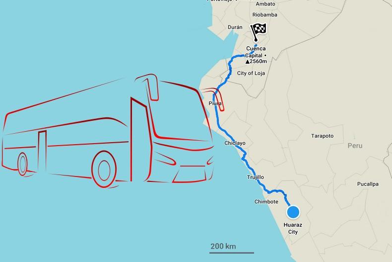 Carte itinéraire entre Huaraz et Cuenca