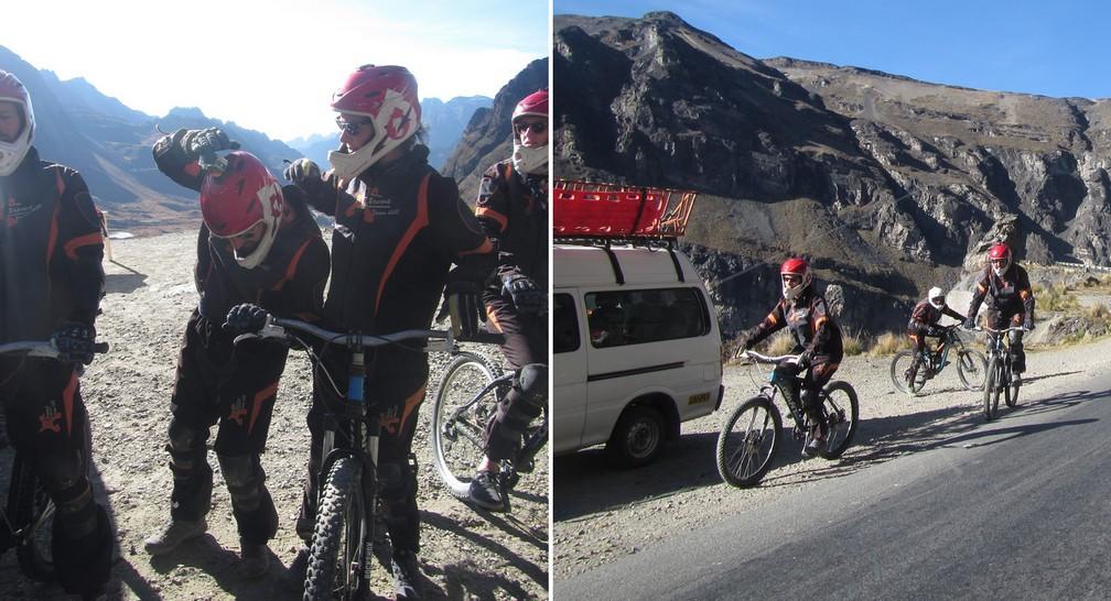 Salomé vérifie que la caméra sur le casque de Sylvain est bien allumée et départ en VTT pour la Route de la Mort
