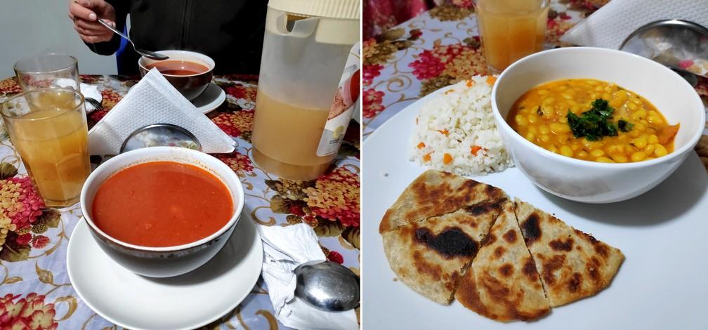 Soupe et plats végétariens chez Krishna Bhog à Huaraz