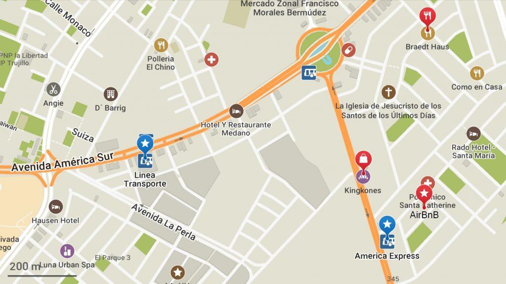 Carte de Chiclayo montrant les différents terminaux de bus