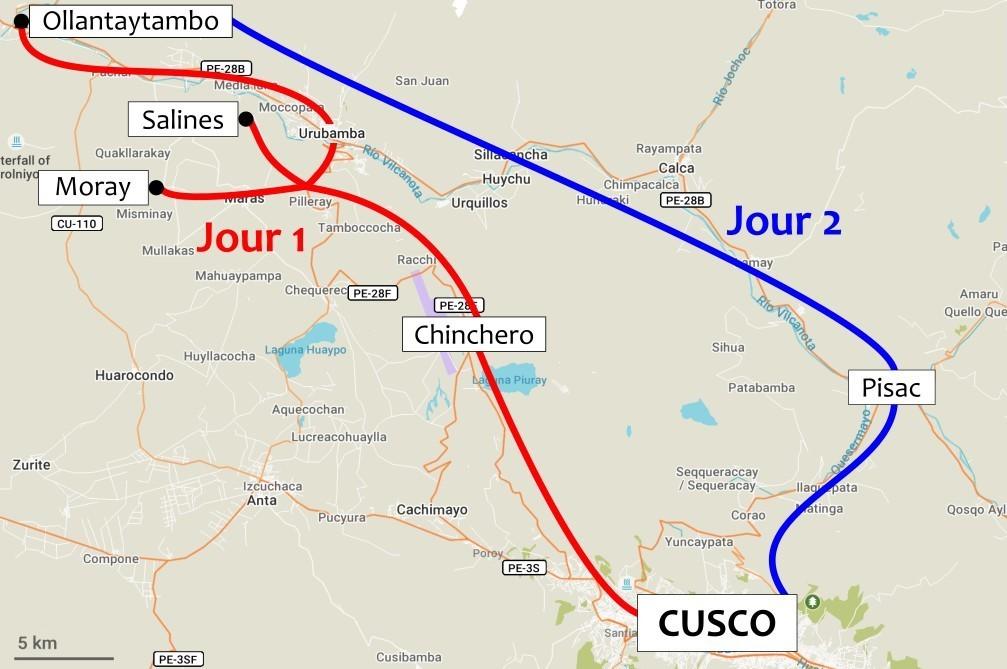 Carte détaillant les trajets pour la visite de la Vallée Sacrée de Cusco en 2 jours