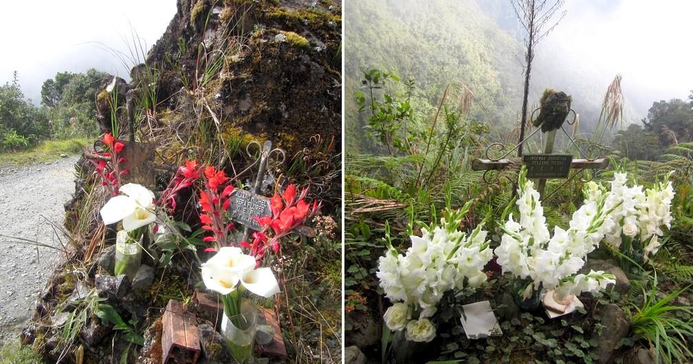 Des croix et des fleurs marquent des endroits d'accident mortel
