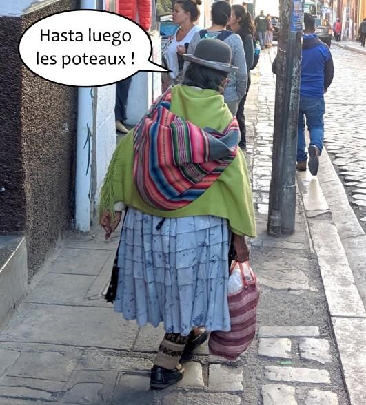 Vieille Bolivienne marche de dos en portant son sac multicolore à La Paz