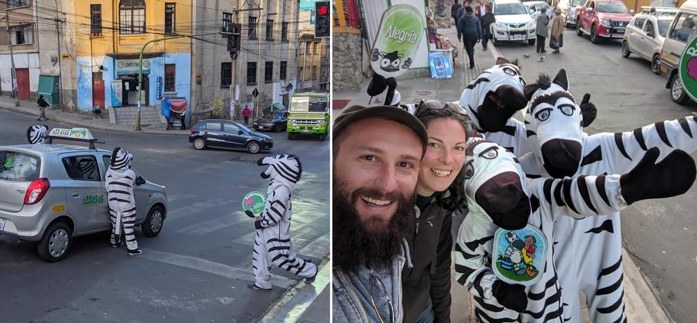 Jeunes déguisés en zèbres faisant la circulation à La Paz