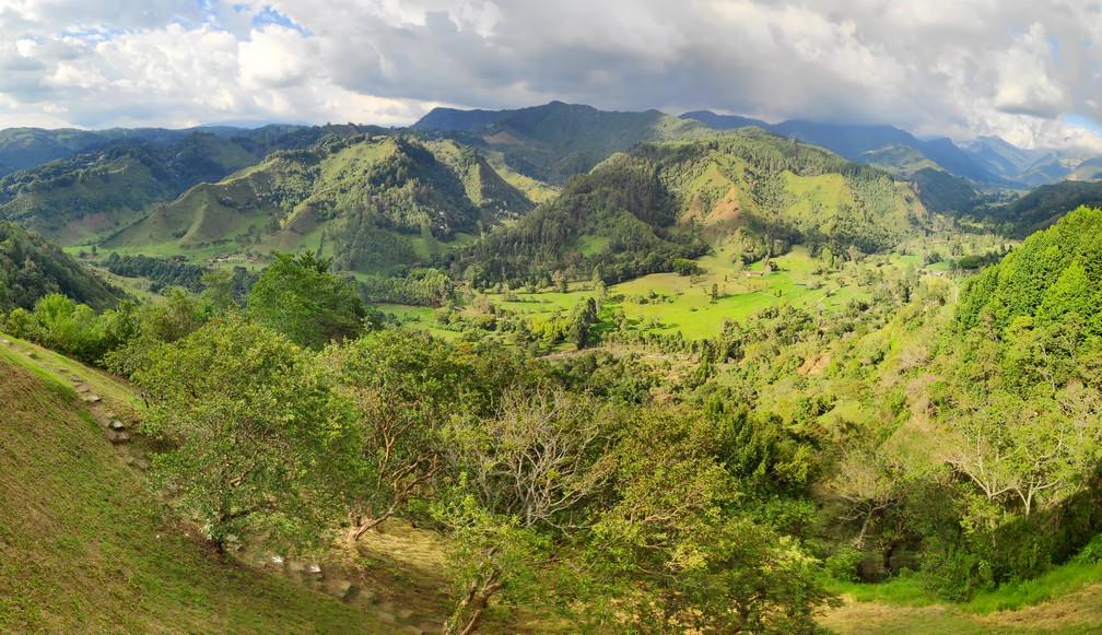 Vue sur des montagnes verdoyantes dans le centre de la Colombie