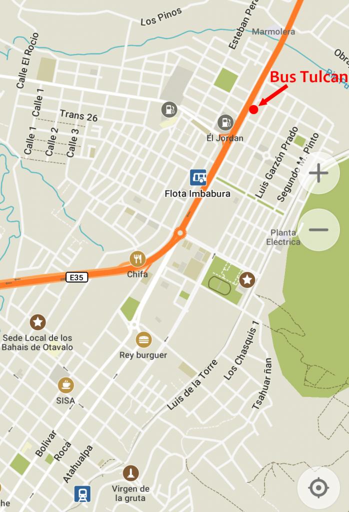 Plan pour situer l'arrêt de bus pour Tulcan à Otavalo