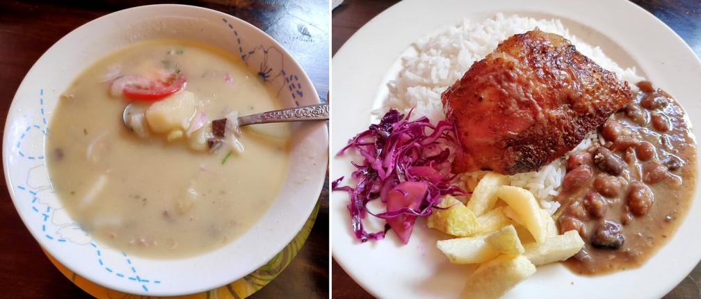 bol de soupe et assiette de riz, poulet et haricots rouges